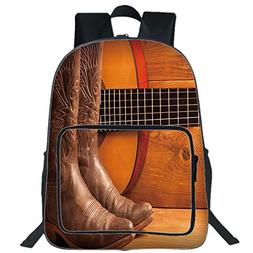 """iPrint 19"""" Large Casual Backpack,Western,American Country Mu"""