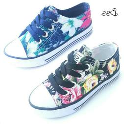 Big Kids Girls Floral Canvas Shoes Size 12-3 New