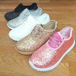 Big Kids Girls Tennis Shoes Glitter Sparkly Joggers Size 10-