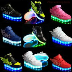 Boys Girls LED Light up Lace Up Luminous Sneakers Kids Child
