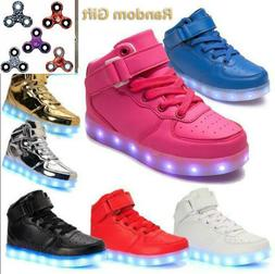 Boys Girls USB 7 LED Light Up Shoes Kids Child High Top Lumi