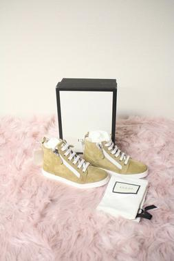 Brand New Gucci Girls Beige leather High Top Sneakers Shoes