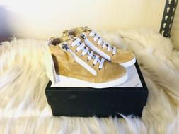 Brand New Gucci Kids Unisex Tan Faux Fur High Top Shoes Size