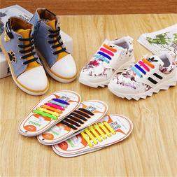 Children Kids Boys Girls No Tie Shoelaces Elastic Silicone S