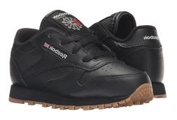 Reebok Classic Leather Black, Gum Toddler Kids Sneakers Tenn