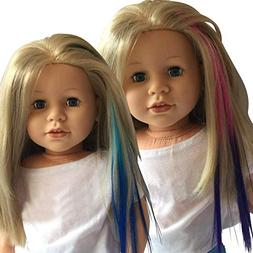 Clip In Hair Extensions Light Blue/Blue & Pink/Purple for 18