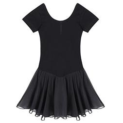 Arshiner Girls' Dance Leotard Ruffle Sleeve, Black, 160