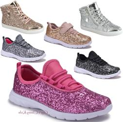 Fashion Youth Kids Girls Sequins Glitter Sneakers Lace Up Te