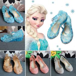 Frozen Princess Elsa Cosplay Summer Sandals Crystal Jelly Sh