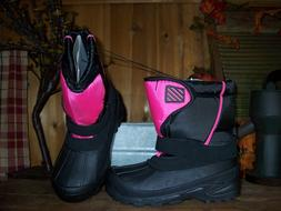 GIRLS WINTER BOOTS SIZE 1 BLACK PINK TEMP RATING -5 KIDS WIN