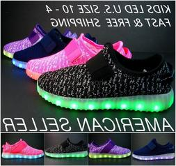 Kids LED Light Up Sneakers Luminous Shoes USB Charger Boys G