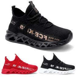 Kids Running Sneakers Lace Up Mesh Breathable Sport Shoes Te