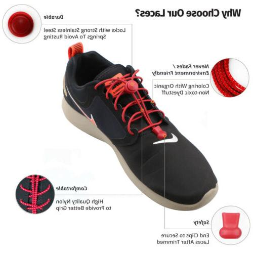 2 Shoe Laces No Tieless Lock For Kids and Adult Elastic