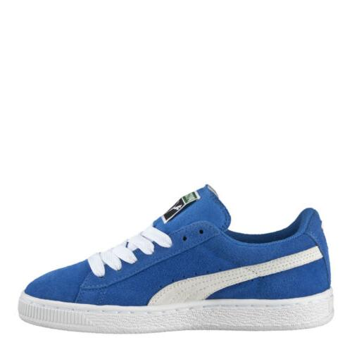 big kids suede jr shoes blue white