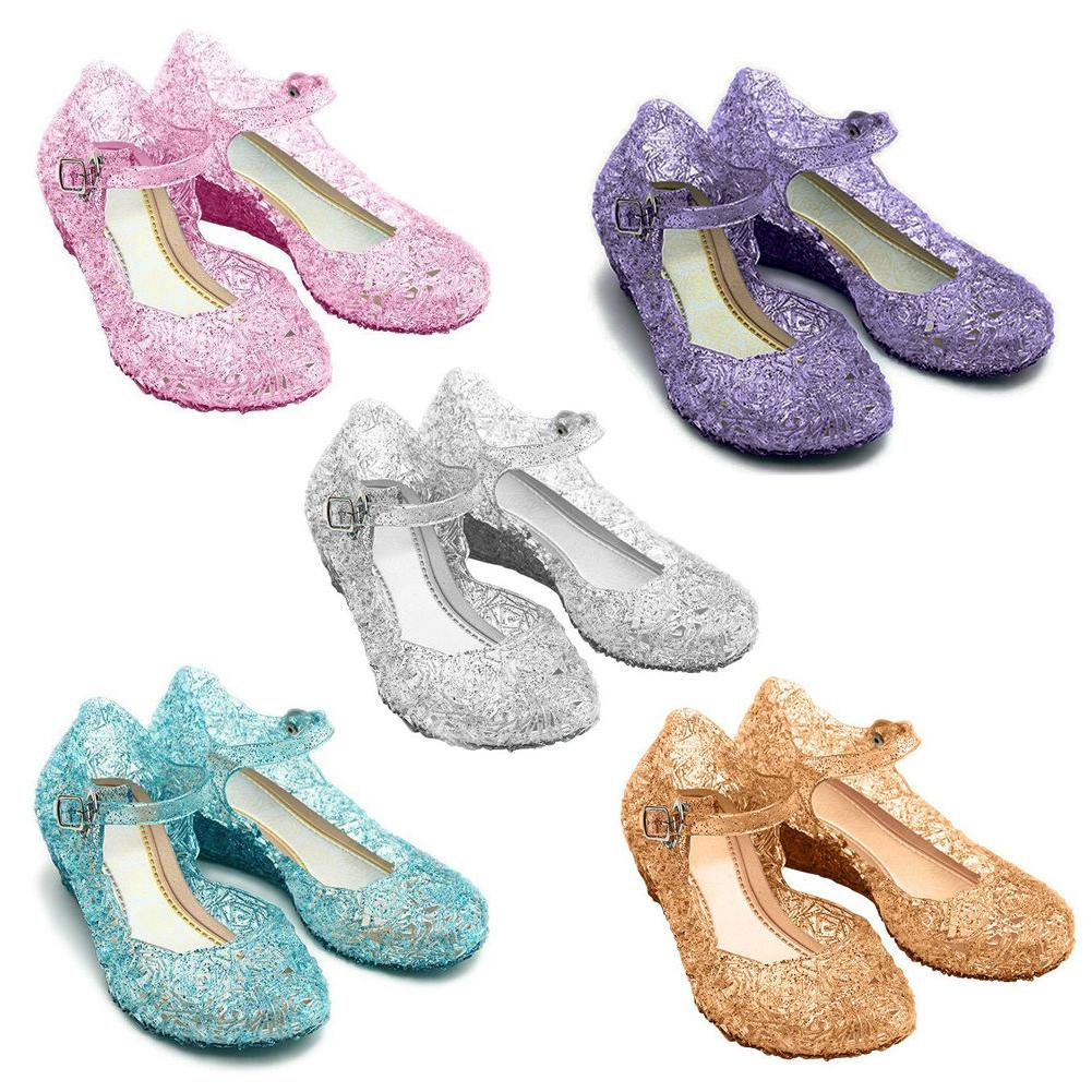 Kids Girls Crystal Sandals Child Jelly Frozen Princess Cosplay Gift