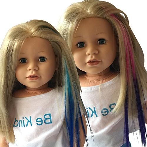 Clip In Hair Light Blue/Blue & for - Doll in Pink/Purple- Hair 18 Dolls