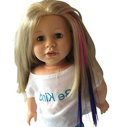 Clip Light for 18 inch and - Doll Wig Piece in & Pink/Purple- Extensions for 18