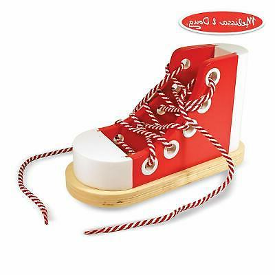 Melissa & Doug Deluxe Wood Lacing Sneaker - Learn to Tie a S