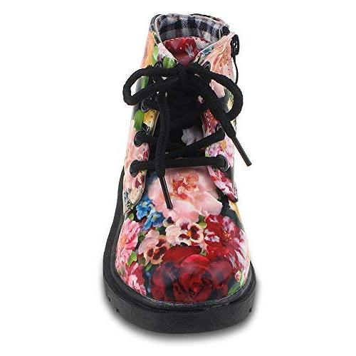 Maxu Girl's Boots Lace Up Black Flower,Little Kid 12