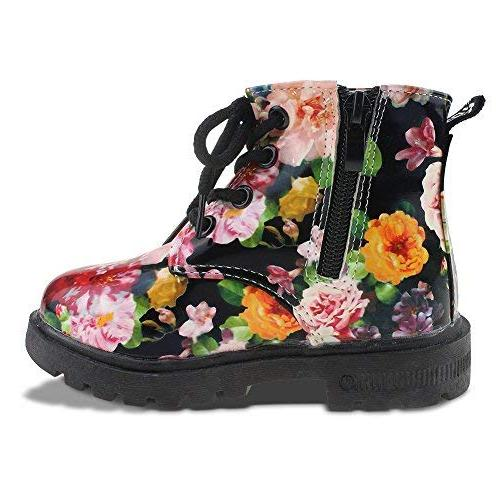 Maxu Floral Boots Lace Booties Black Kid 12
