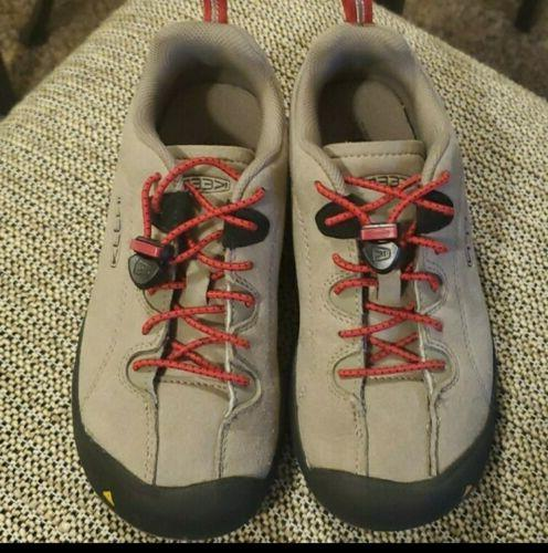 hiking shoes tan red kids size 2