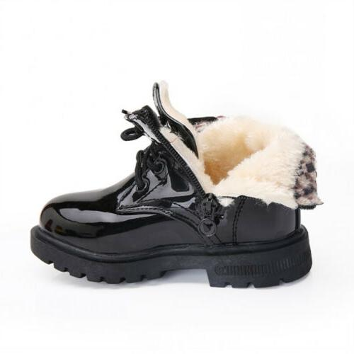 Kids Boys Shoes Winter Warm Lace-Up Fur Bovver Boots