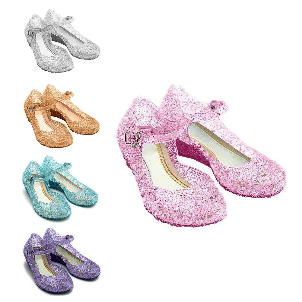 Kids Sandals Jelly Cosplay Frozen Princess Elsa Shoes