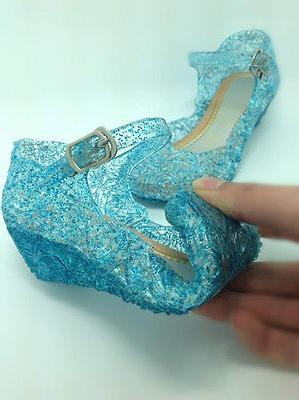 Kids Crystal Jelly Sandals Princess Cosplay Hollow Size