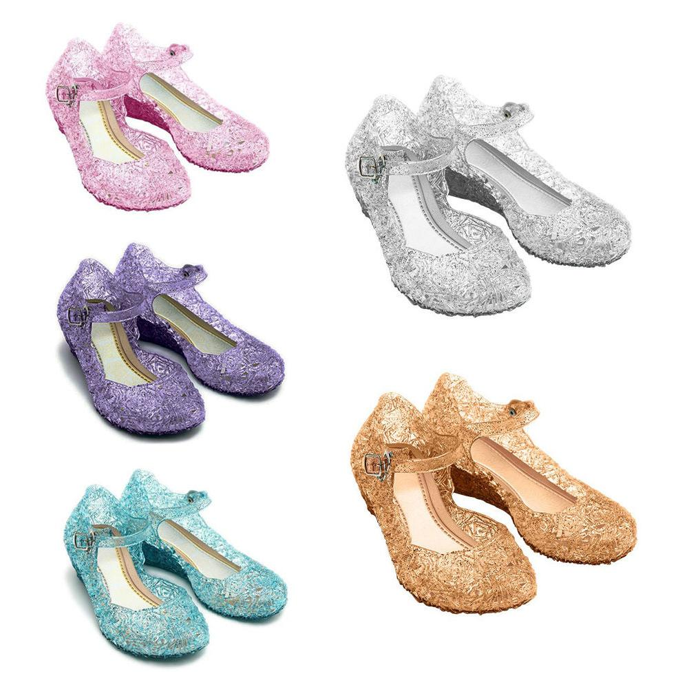 Kids Girls Jelly Sandals Princess Cosplay Hollow Shoes