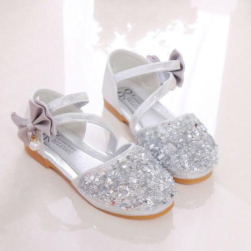 Kids Girls Glitter Party Buckle Princess Sandals Bridesmaid Shoes Size