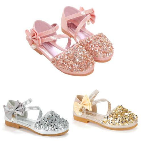 Kids Glitter Wedding Party Sandals Bridesmaid Size