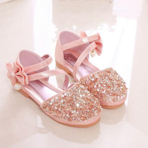 Kids Glitter Party Princess Bridesmaid Shoes Size