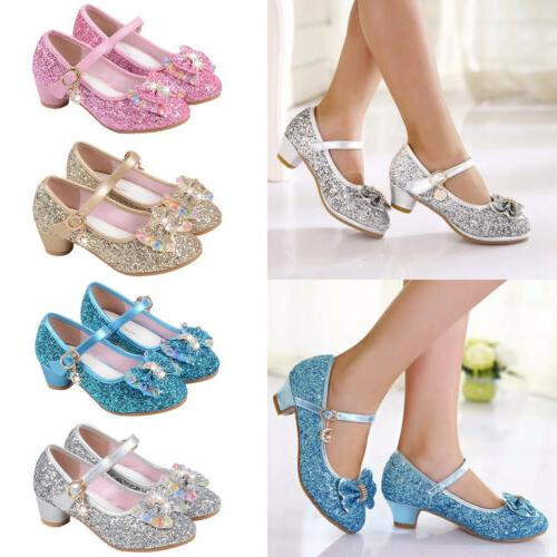 Kids Girls Sequins Princess Sandals Low Heel Party Dress Glitter