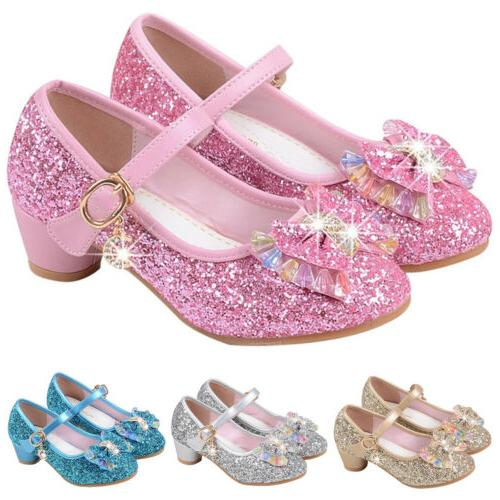 Kids Girls Princess Sandals Low Heel Party Glitter
