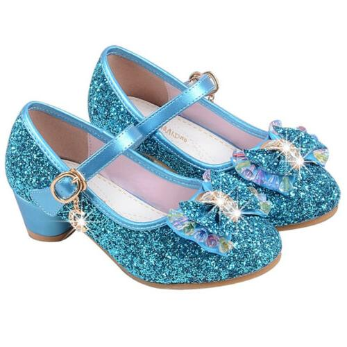 Kids Sequins Sandals Bow Party Dance Shoes Glitter