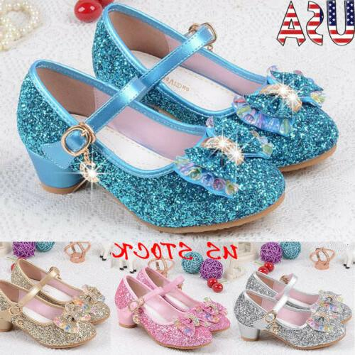 kids girls sequins princess sandals bow low