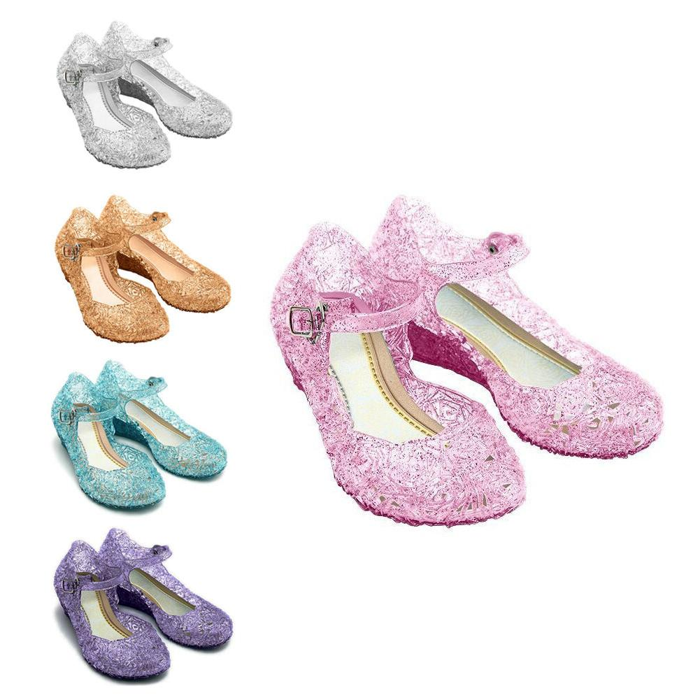 kids girls crystal sandals jelly party cosplay