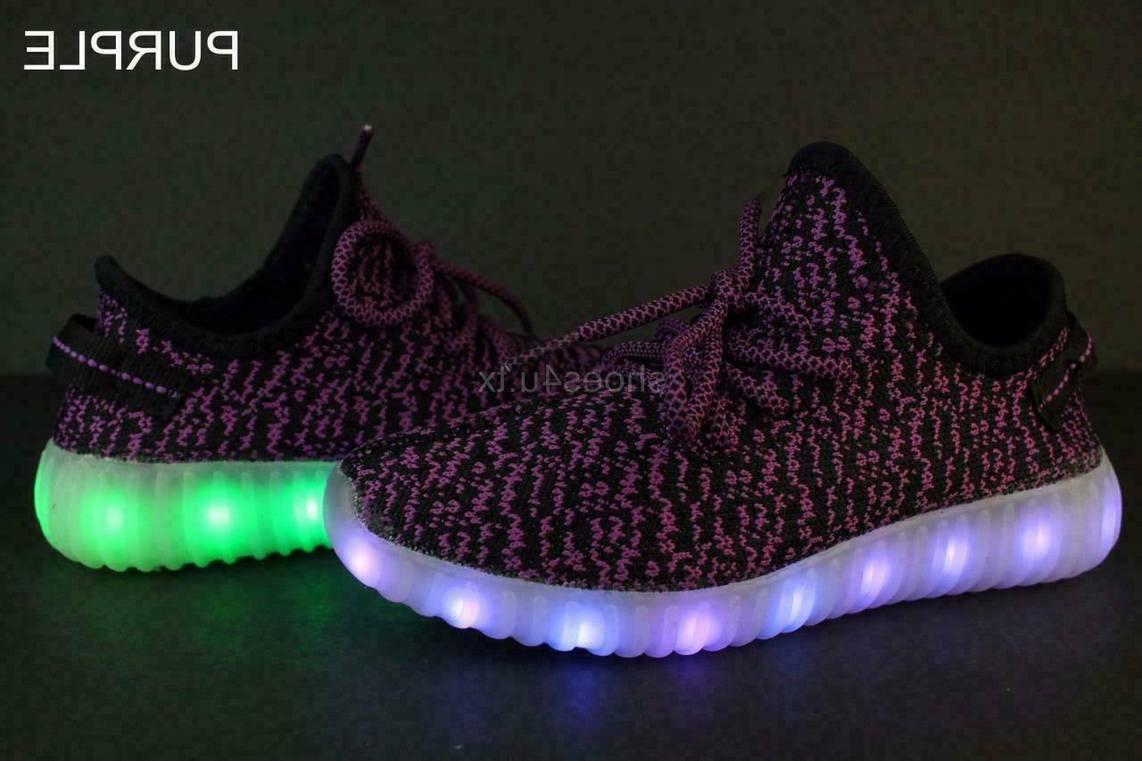 Kids Youth Up Sneakers Luminous Boys USB Lace