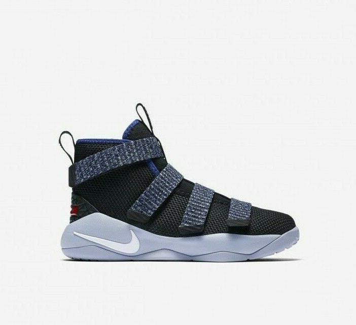 watch 5f433 ab5a6 Nike LeBron Soldier XI 918368-005 Black Blue Little Kids Basketball Shoes