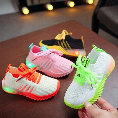 LED Children Baby Girls Sneakers Luminous Trainers Size