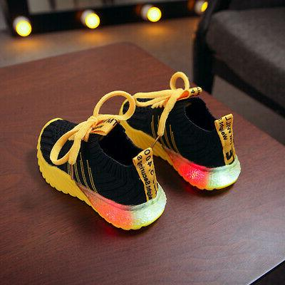 LED Children Girls Up Sneakers Luminous Shoes Trainers Kids Size