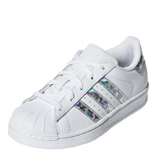 adidas Little Originals Superstar Shoes: White/Silver - CG6708