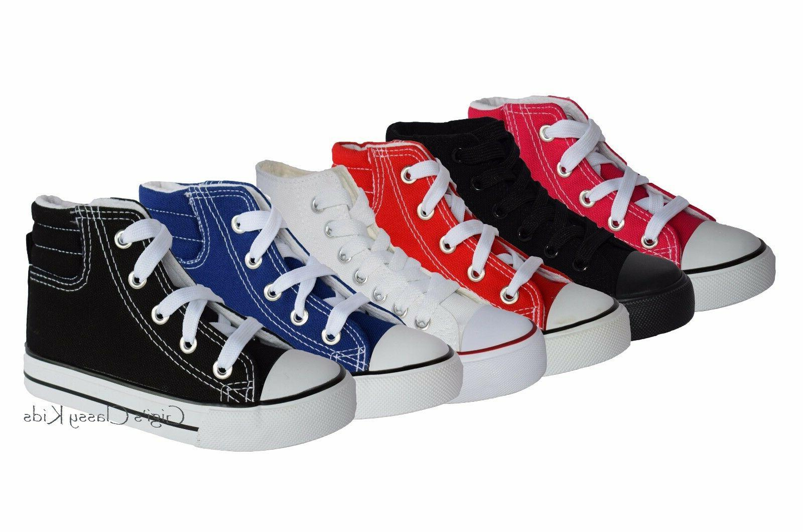 New Boys Canvas Top Tennis Shoes Up Sneakers Kids
