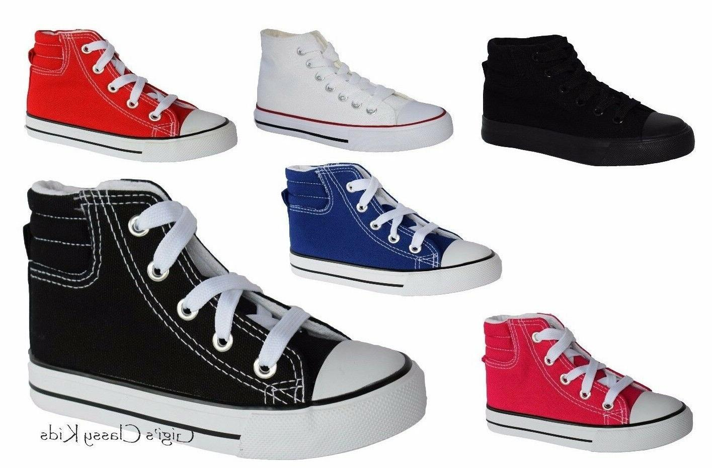 new boys girls youth canvas high top
