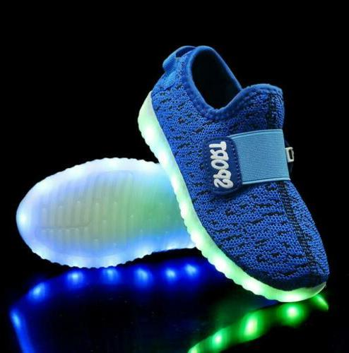 New Boys Girls Running shoes Led Light Shoes