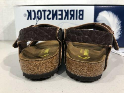 BIRKENSTOCK New Kinder Dk Brown Leather Sandals TB2-57