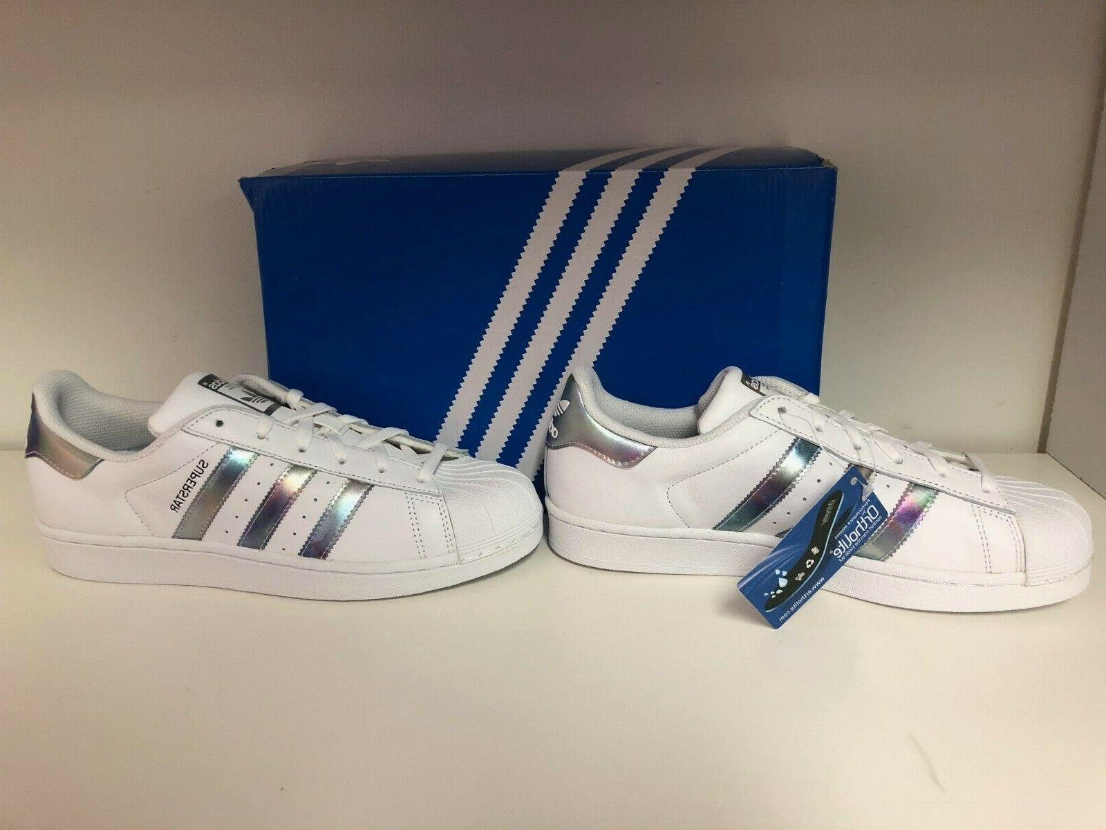 Adidas Shell Toe White/Metallic Kids Size 7 Shoes