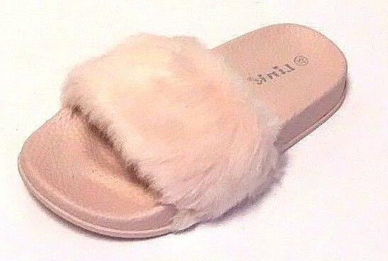 Toddler Fur Slippers Flats House Shoes Open Toe