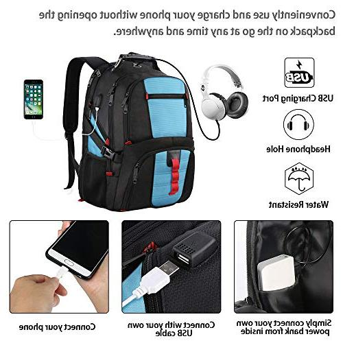TSA Laptop Travel with Port/Headphone Hole for Big Casual Work Bookbag