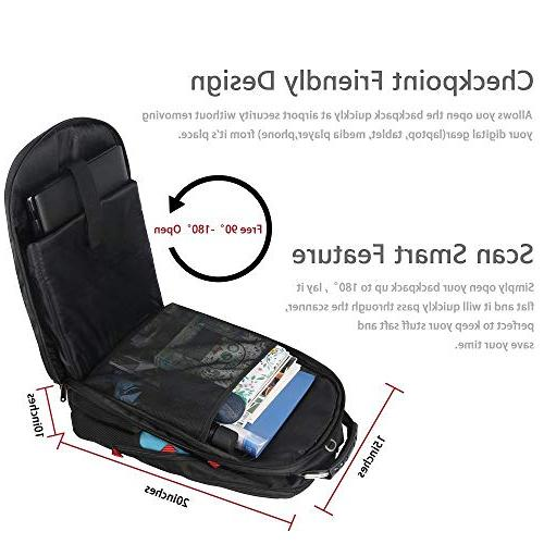 TSA Travel Computer Laptop with Organizer Pockets/USB Hole for Repellent Big Work Bookbag